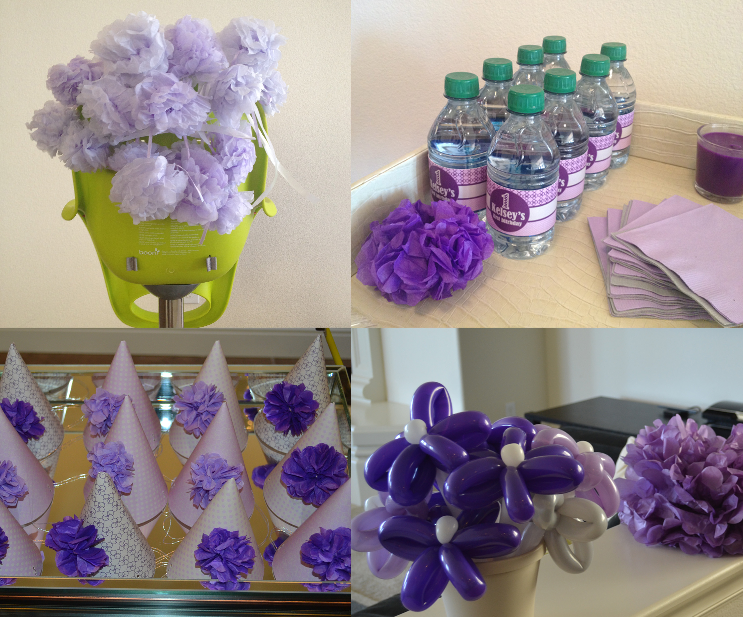 More purple decor – decorated high chair; monogrammed water bottles ...