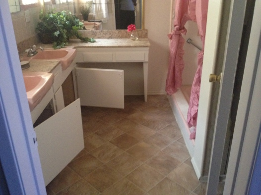 Master Bathroom with matching pink sinks.