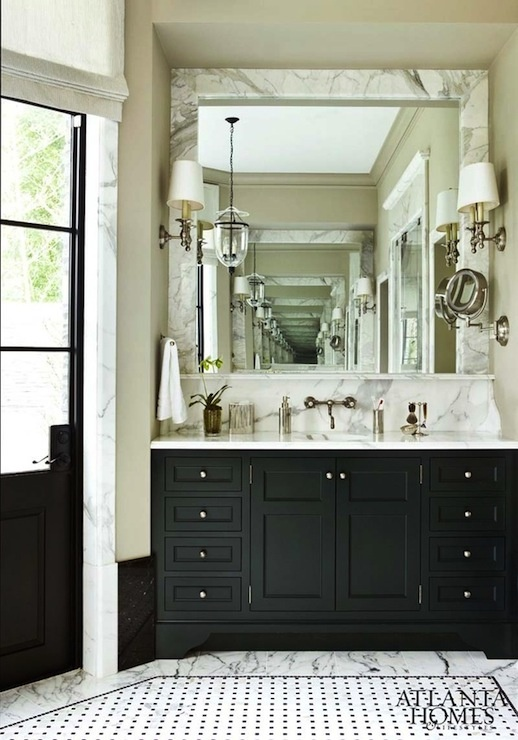 marble bathroom with black vanity